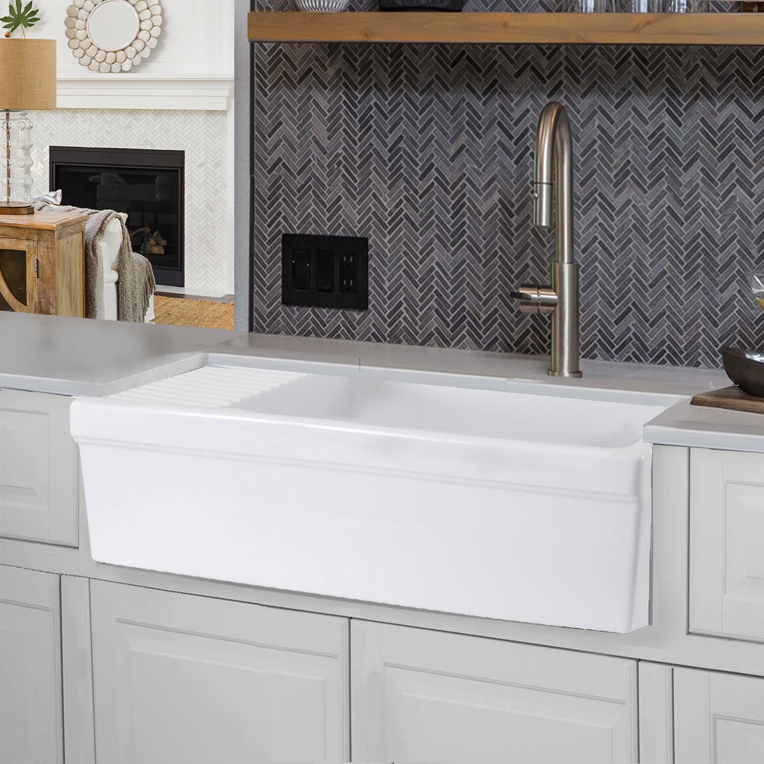 Cape 36 L X 20 W Farmhouse Kitchen Sink With Built In Drainboard