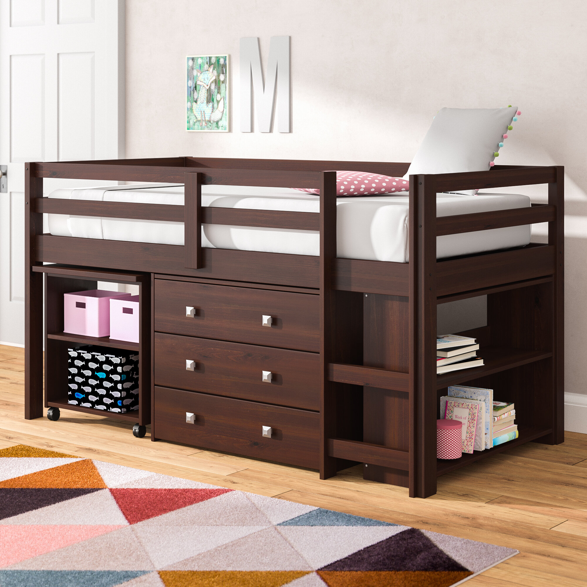 Picture of: Viv Rae Senger Twin Low Loft Bed With Bookcase And Drawers Reviews