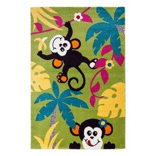Price comparison Howton Kids Monkeys Tropical Green/Black Area Rug ByZoomie Kids