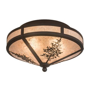Meyda Tiffany Greenbriar Oak Tamarack 2-Light Semi-Flush Mount