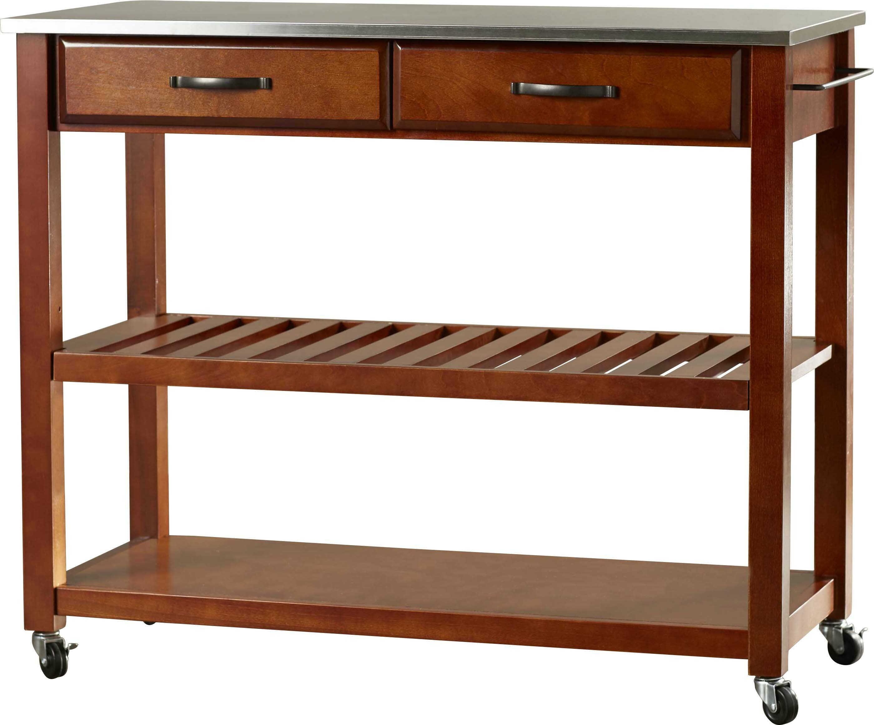 Haslingden Kitchen Cart with Stainless Steel Top