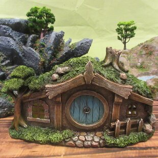 Fairy Garden House with Round Door and Fence Statue by Hi-Line Gift Ltd.
