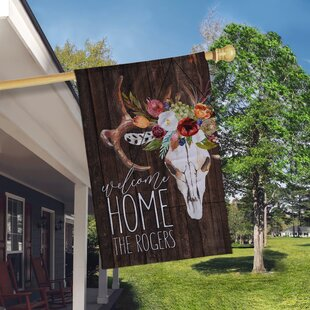 Floral Skull 2-Sided Polyester 3 X 2 Ft. House Flag By Boutique Monogram