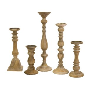 Wood Candlestick Set (Set Of 5) by Red Barrel Studio Today Only Sale
