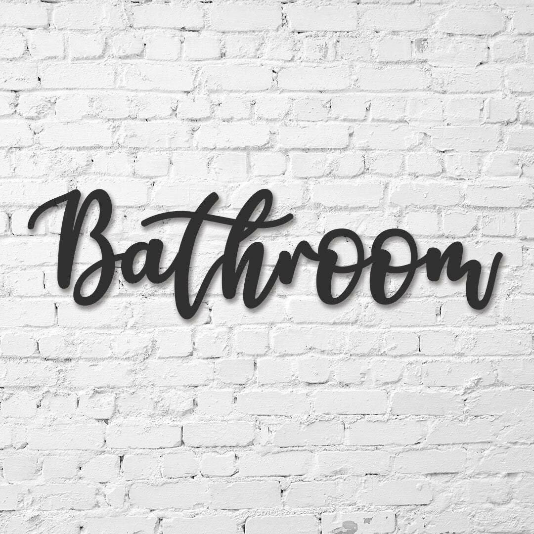 Winston Porter Cursive Bathroom Sign Wall Décor Reviews Wayfair