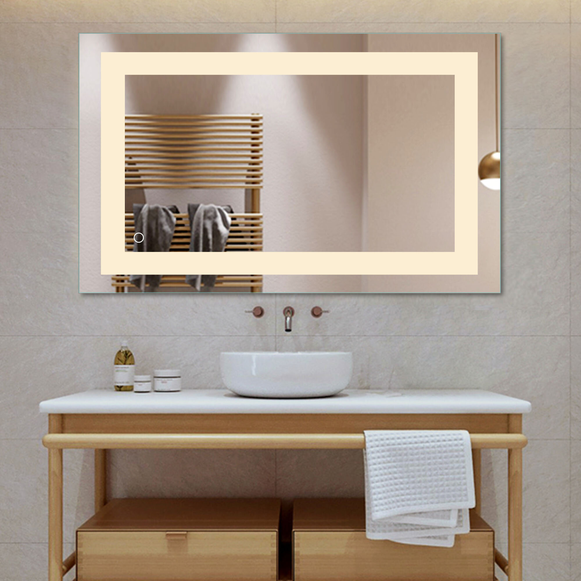 Orren Ellis Monaco Frameless Lighted Bathroom Vanity Mirror Reviews Wayfair