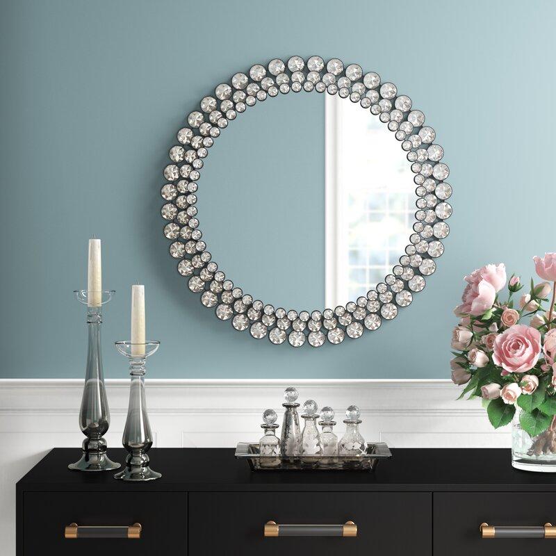 Wykoff Round Jeweled Accent Mirror