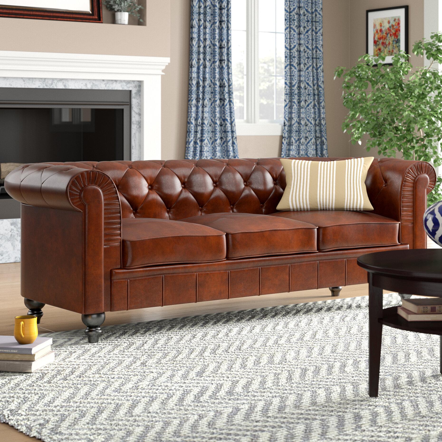Three Posts Alpharetta Traditional Chesterfield Leather Sofa