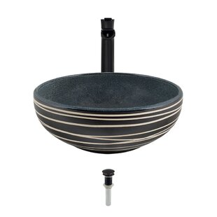 Price Check Artisan Ceramic Circular Vessel Bathroom Sink with Faucet ByMR Direct
