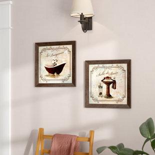 'Classic Prints for Decorating Bathroom; Salle De Bain and Le Baignoire' Acrylic Painting Print Set (Set of 2)