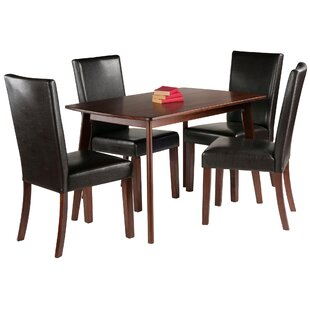 Guynn 5 Piece Solid Wood Dining Set by Winston Porter Amazing