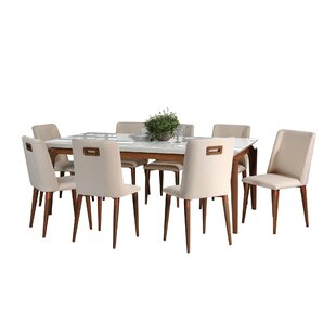 Tatro 9 Piece Solid Wood Dining Set