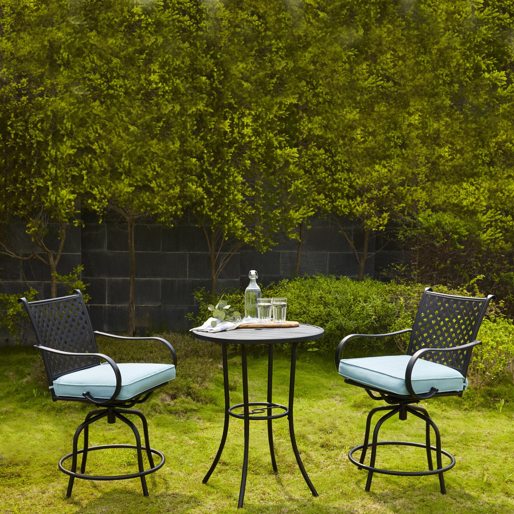 Ebern Designs Trentin Patio Swivel 3 Piece Bar Height Dining Set