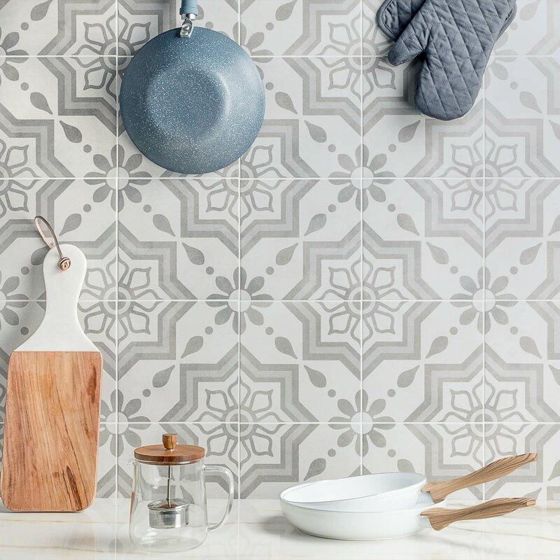 """Sintra 9"""" x 9"""" Porcelain Field Tile in Matte Sky Silver"""