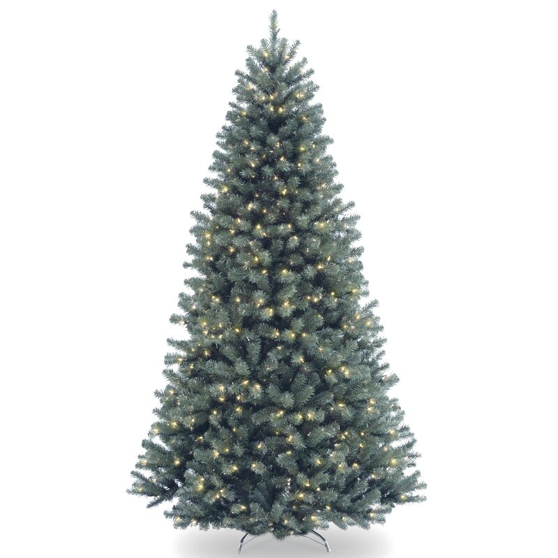 North Valley Blue Spruce Artificial Christmas Tree with Clear Lights with  Stand - North Valley Blue Spruce Artificial Christmas Tree With Clear Lights