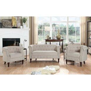 Alcott Hill Kelty 3 Piece Living Room Set