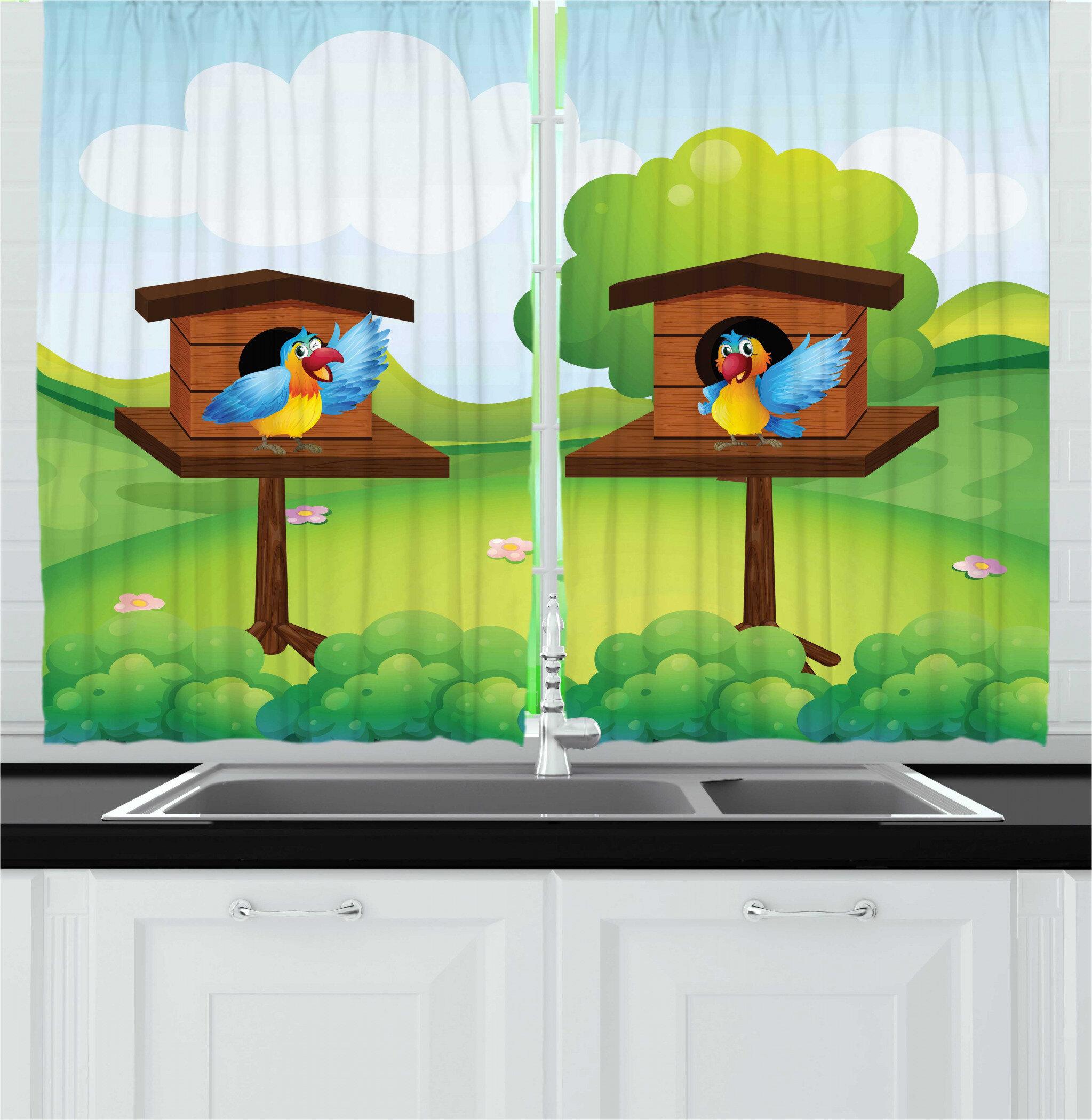 East Urban Home 2 Piece Birdhouse Happy Winged Animals In Nest Tree Clouds Cartoon Design Nature Kitchen Curtain Set # birds, cartoon, nest, tree. wayfair