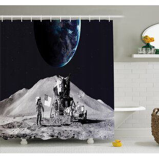 Outer Space Moon US Spaceman Launching on the Exploring Dark Matter Orbit Luna Design Shower Curtain Set