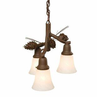 Steel Partners Ponderosa Pine 3-Light Shaded Chandelier