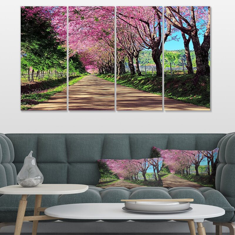 Cherry Blossom Tree Landscapes SINGLE CANVAS WALL ART Picture Print VA