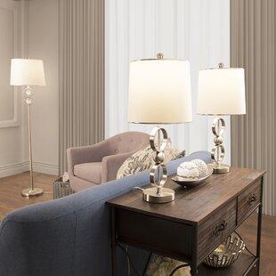 Lavish Home 3 Piece Table and Floor Lamp Set