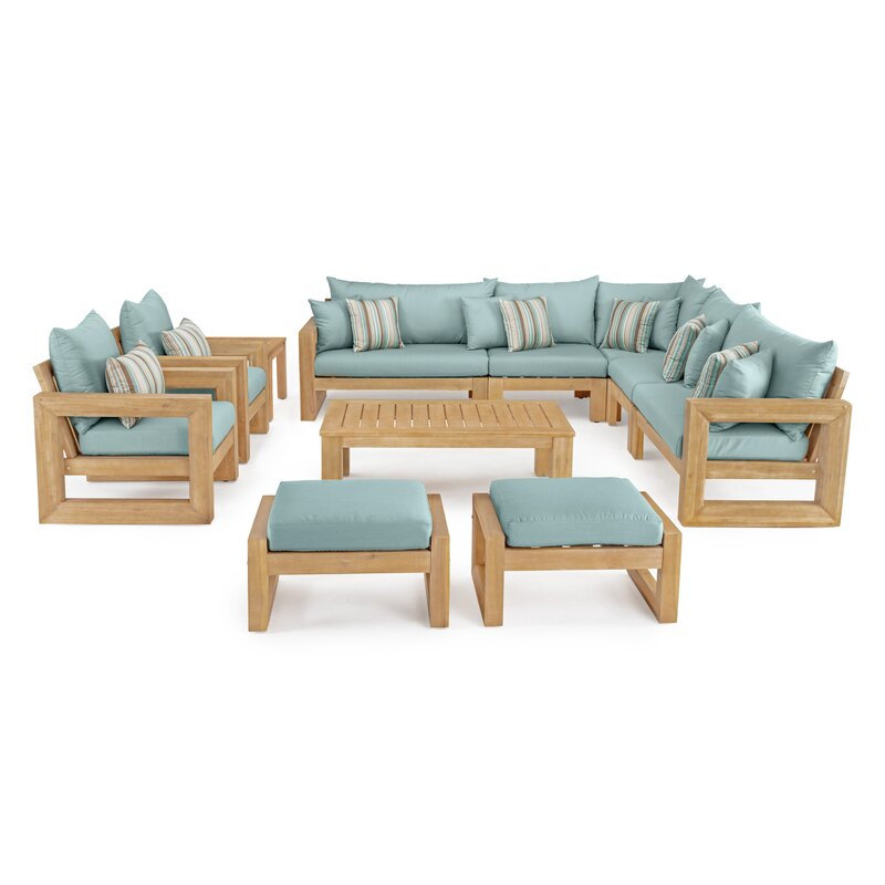 Rosecliff Heights  Mcclain 11 Piece Sunbrella Sectional Seating Group with Cushions Cushion Color: Bliss Blue