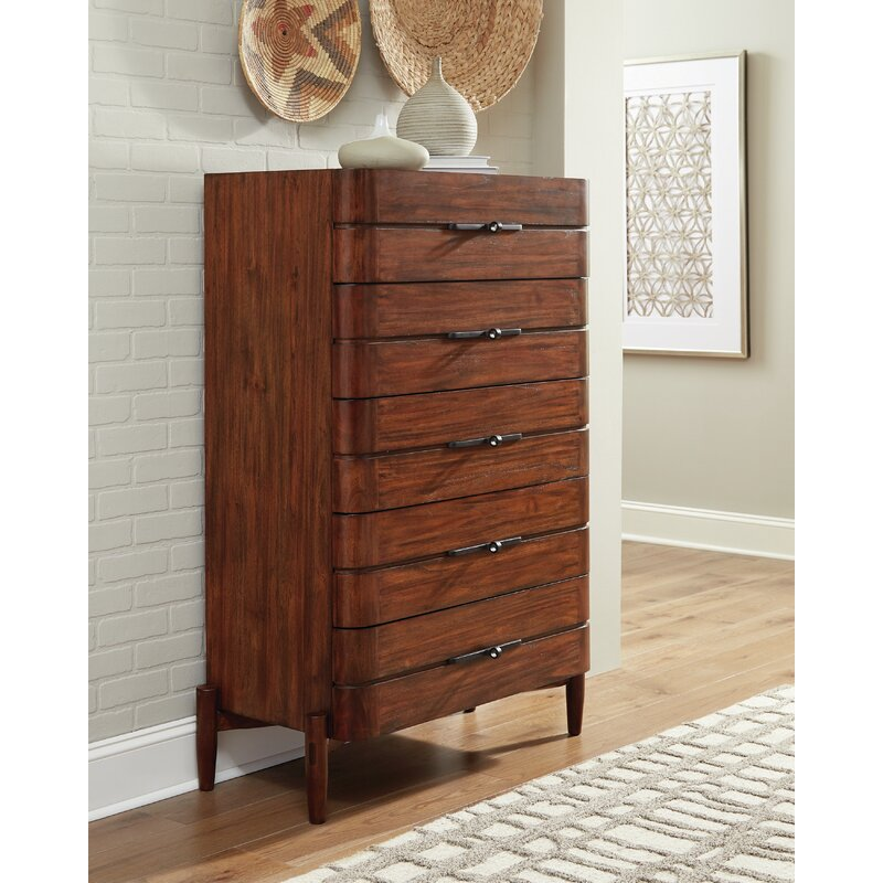 Corrigan Studio Cobbs 5 Drawer Chest Desert Teak Wayfair
