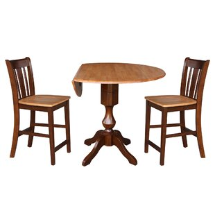 Atalaya Round Top Drop Leaf Pedestal 3 Piece Adjustable Pub Table Set
