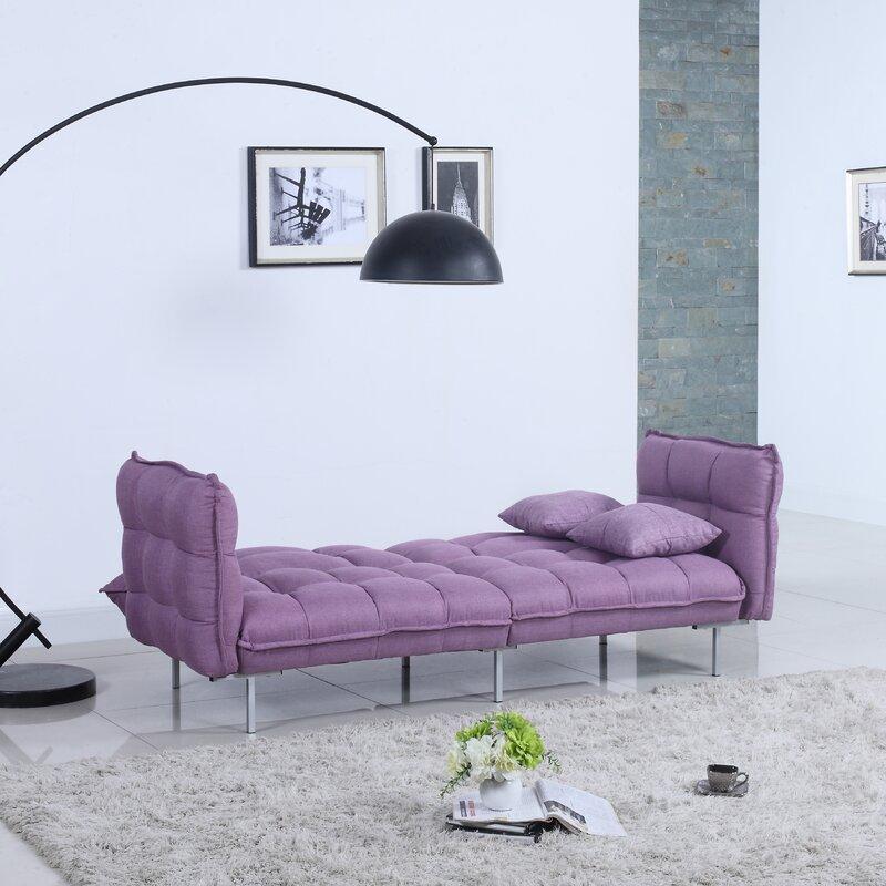 Modern Plush Tufted Linen Splitback Living Room Sleeper Sofa