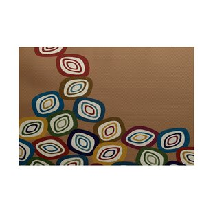 Cotner Falling Leaves Geometric Print Brown Indoor/Outdoor Area Rug
