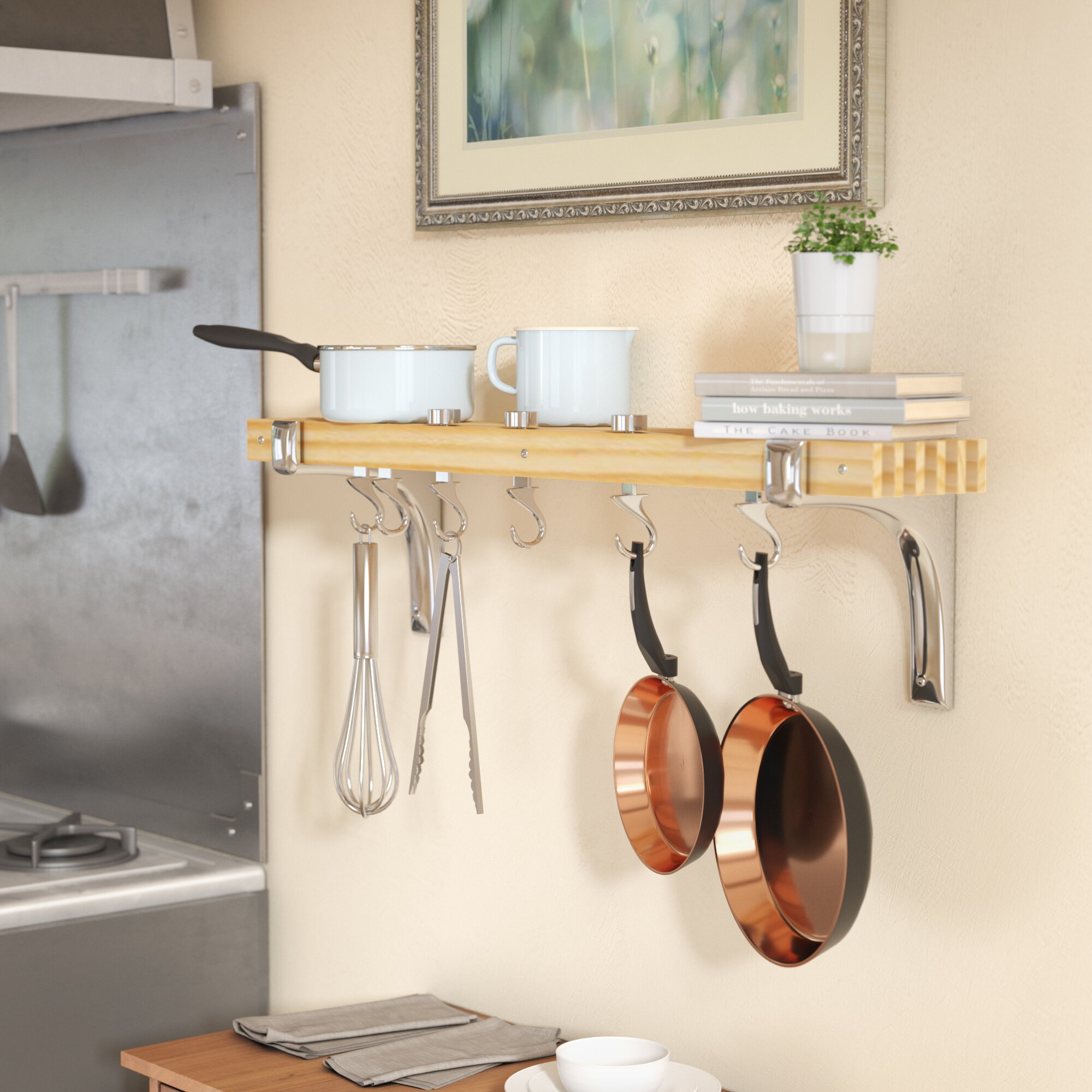 Picture of: Rebrilliant Wall Mounted Pot Rack Reviews