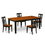 5 - Piece Butterfly Leaf Rubberwood Solid Wood Dining Set by East West Furniture