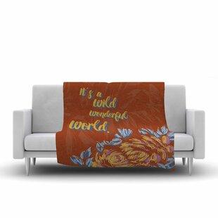 Inexpensive Gukuuki Wonderful World Typograpgy Fleece Blanket ByEast Urban Home