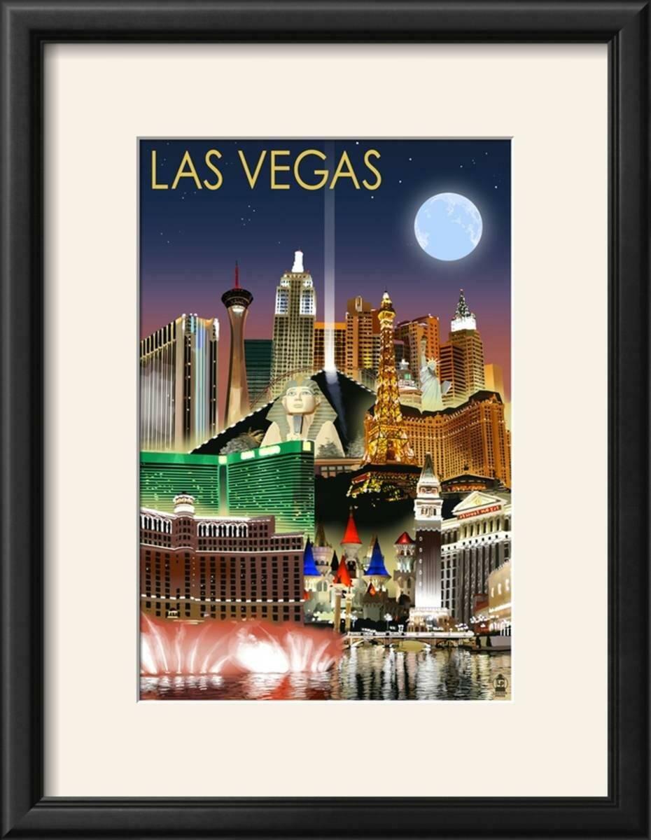 Ebern Designs \'Las Vegas, Nevada - Las Vegas at Night\' Framed ...