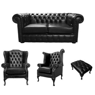 McLoud Chesterfield 4 Piece Leather Sofa Set By Rosalind Wheeler