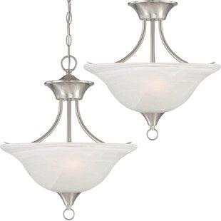 Whetsel 2-Light Pendant or Semi Flush Mount by Fleur De Lis Living