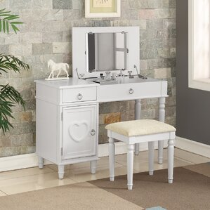 Strathmore Flip up Vanity Set with Mirror Makeup Tables and Vanities You ll Love  Wayfair