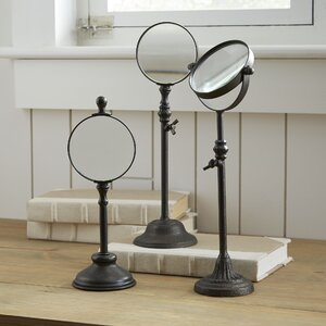 Turn of the Century 3 Piece Metal Magnifying Glasses on Stand Set (Set of 3)
