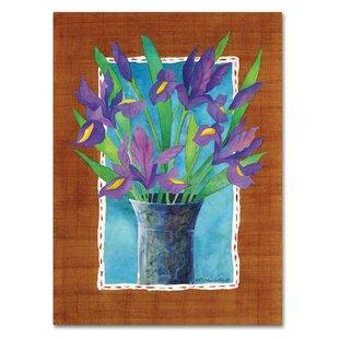 Irises Graphic Art Print On Wred Canvas