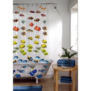 Swansea Photoreal New School Fish Single Shower Curtain