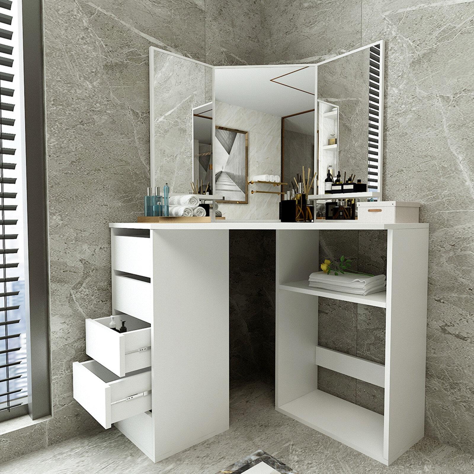 Latitude Run Hambaugh Bedroom Vanity With Mirror Wayfair