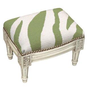 Zebra Stripe Wool Needlepoint Upholstered Ottoman