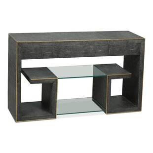 Vernice Leather Shagreen Greek Key Console Table