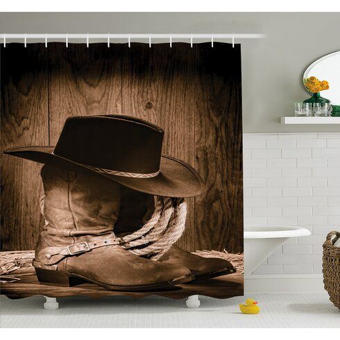 Western Wild West Themed Cowboy Hat And Old Ranching Rope On Wooden Display  Rodeo Style Shower