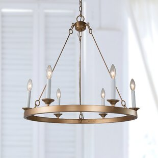 Candle Style Chandelier For Home Mercer41 Phillippi 6 Light Candle Style Wagon Wheel Chandelier