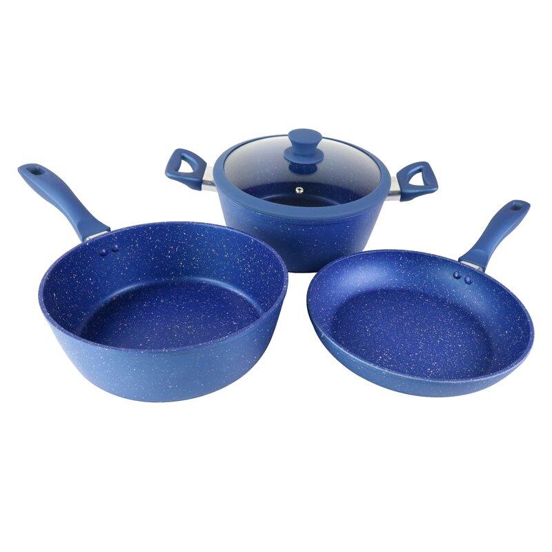 Cookinex 4 Piece Aluminum Non Stick Marble Powder Cookware Set Wayfair