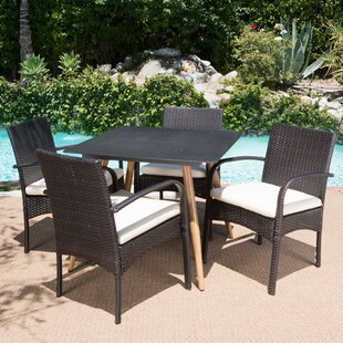 Buse Outdoor 5 Piece Dining Set with Cush..