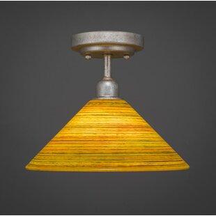 Williston Forge Kash 1-Light Amber Bell Shade Semi-Flush Mount