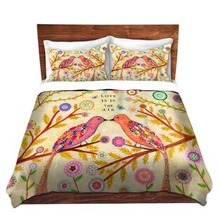 Red Barrel Studio Maysonet Sascalia Love Birds Microfiber Duvet Covers