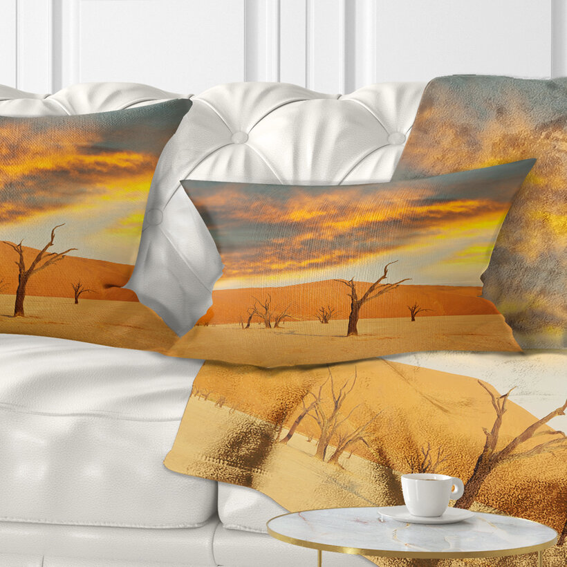 East Urban Home African Colorful Death Valley With Dry Trees Lumbar Pillow Wayfair